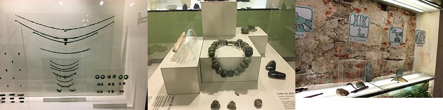 La Casa del Jade, vitrines avec les colliers en Jade