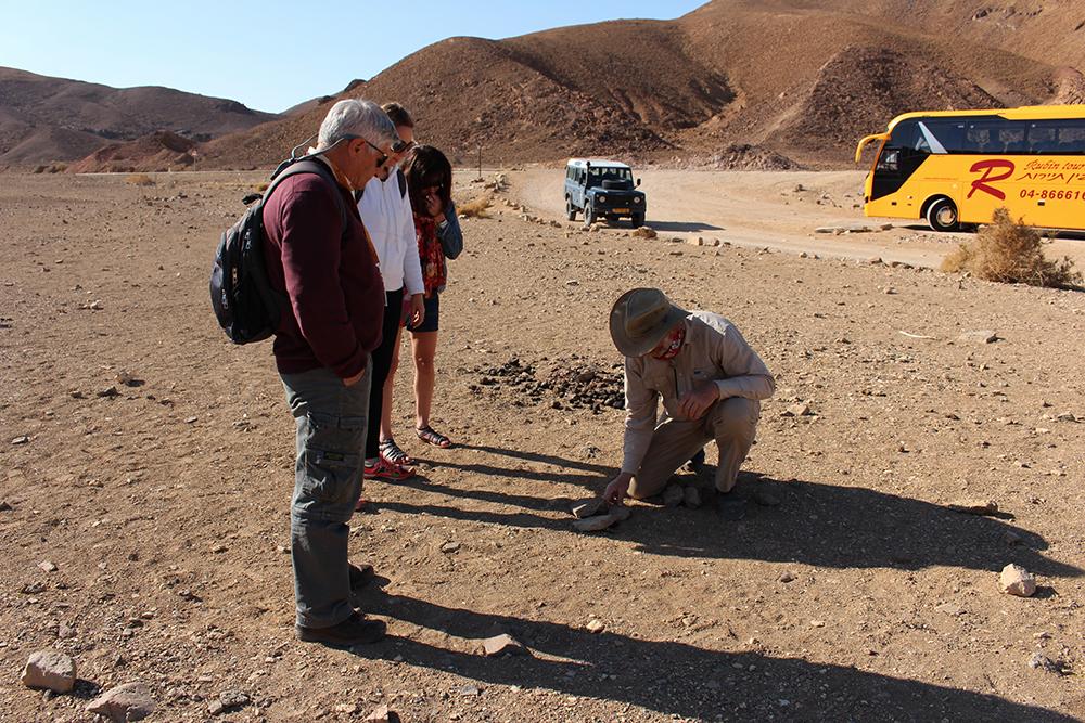 Avant la traversée du désert, un cours sur les animaux grâce aux crottes laissées sur place.
