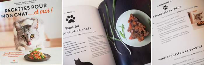 « Recettes pour mon chat… et moi » de Véronique Aiache et Laura Zuili propose de cuisiner en même temps pour nous et le (ou les) chat(s) de la maison…