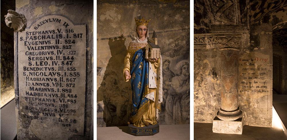 Texte, statue et colonne