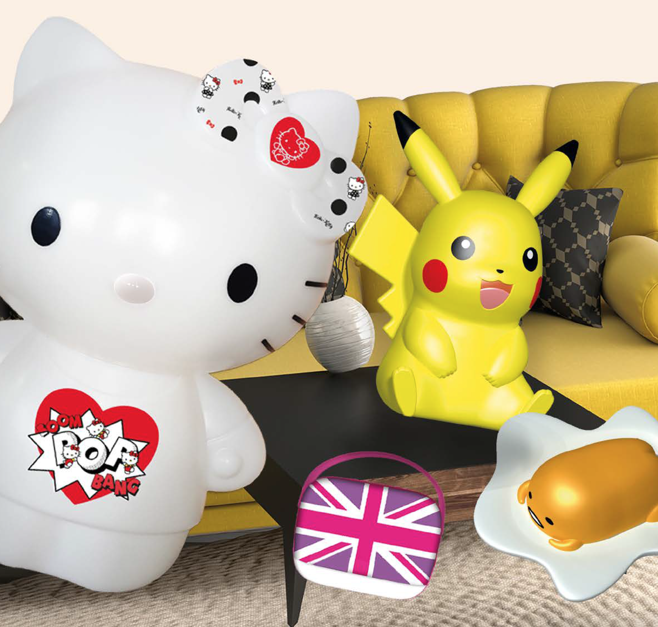 Hello Kitty et Pikachu