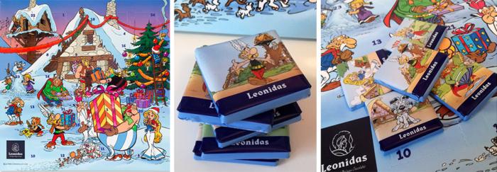 Leonidas a imaginé non pas un mais deux calendriers de l'Avent remplis de gourmandises, un traditionnel et un à l'effigie d'Astérix et Obélix.