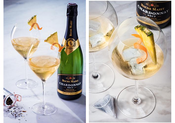 Cocktail à base de Roche Mazet Chardonnay Brut L'Exotea'c