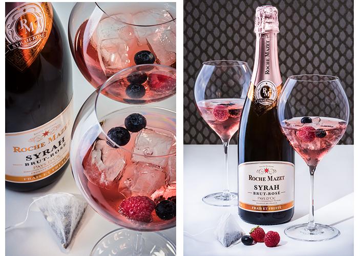 Cocktail à base de Roche Mazet Syrah Brut Rosé Le Frui'Tea