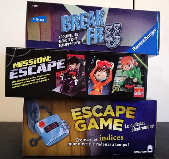 Mission Escape de Goliath, Break Free de Ravensburger, Escape Game de Dujardin… sont des jeux de société qui s'inscrivent dans la tendance des Escape Games.