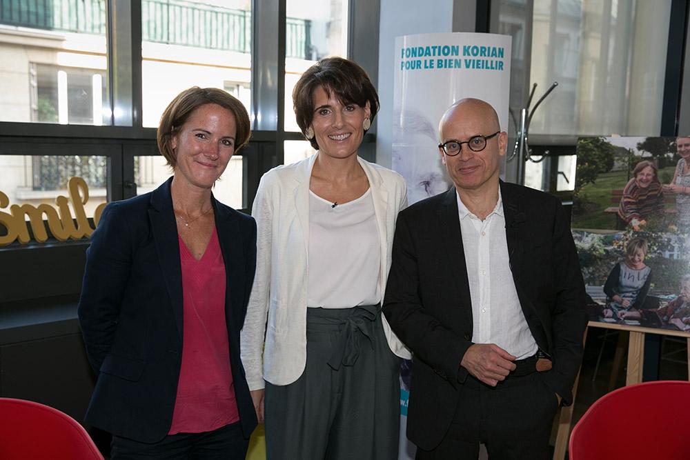 Conférence de presse Fondation Korian pour le bien vieillir. Aude Letty, Sophie Boissard, présidente , Serge Guérin