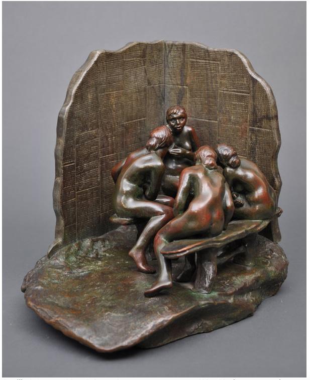Camille CLAUDEL Les Causeuses au paravent, 1893 - 1905, bronze et marbre ou albâtre teinté, fonte Eugène Blot, 1905
