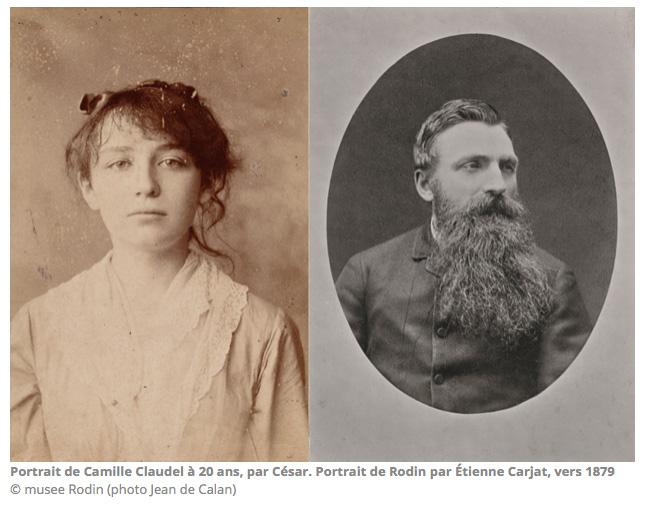 Portrait de Camille Claudel à 20 ans par César et Portrait de Rodin par Etienne Carat vers 1879