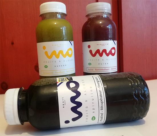 Ino Sport, Ino Essentiel et Ino Bien-être. Pour faire le plein de nutriments essentiels au quotidien, Ino lance des jus de fruits bio à base d'algues.