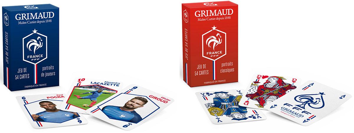 Le jeu de cartes officiel de l'équipe de France en deux versions: traditionnelle et revisitée ©Grimaud