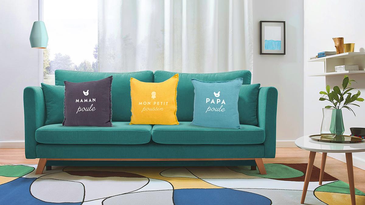 Canapé et coussins personnalisés