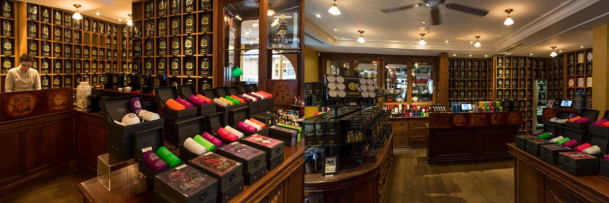 Mariage Frères : intérieur de la boutique avec les étagères remplies de boites de thé©Caroline Paux