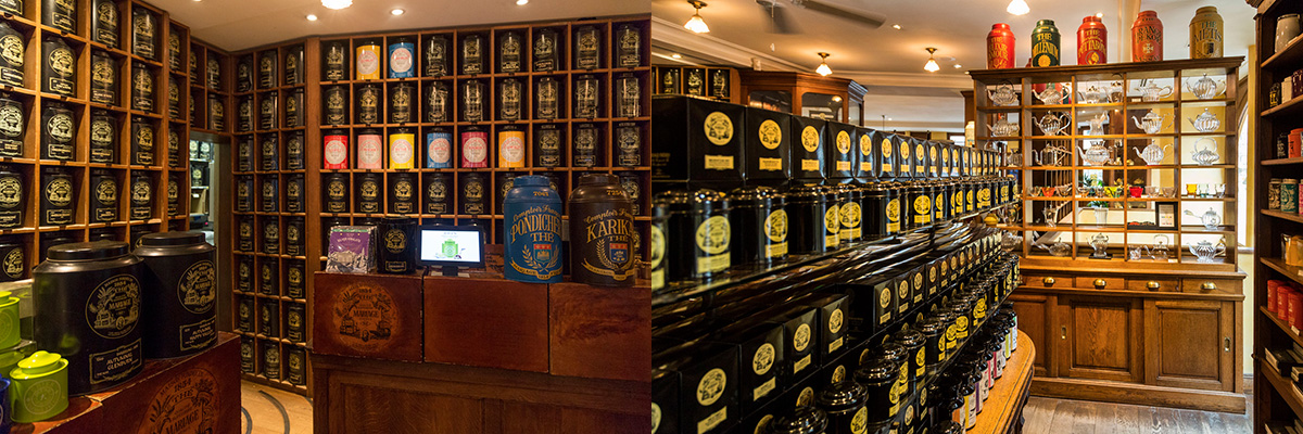 Mariage Frères : intérieur de la boutique avec les étagères remplies de boites de thér©Caroline Paux