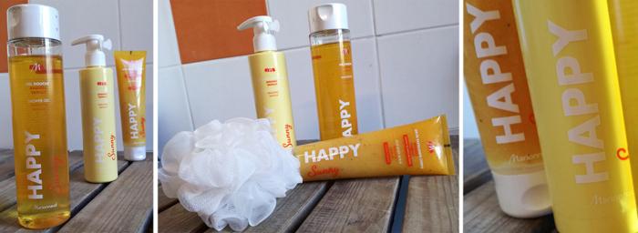 Gels douche, Gelées exfoliantes corps et Laits corps hydratants, Marionnaud présente Happy, une Gamme Bain pour voir la vie de toutes les couleurs!