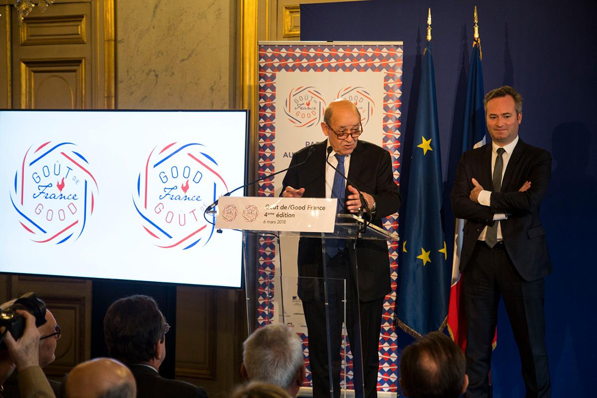 """Jean-Yves Le Drian, ministre de l'Europe et des Affaires étrangères lance """"Goût de/Good France 2018"""": «Notre art de vivre sera célébré grâce aux milliers de dîners à la française»"""