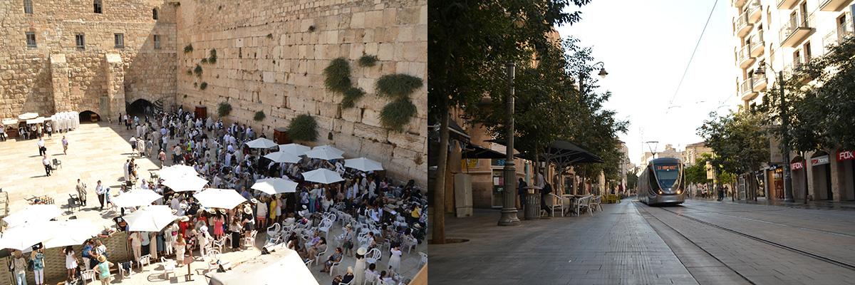 Jérusalem : Mur des lamentations et Jaffa Street.