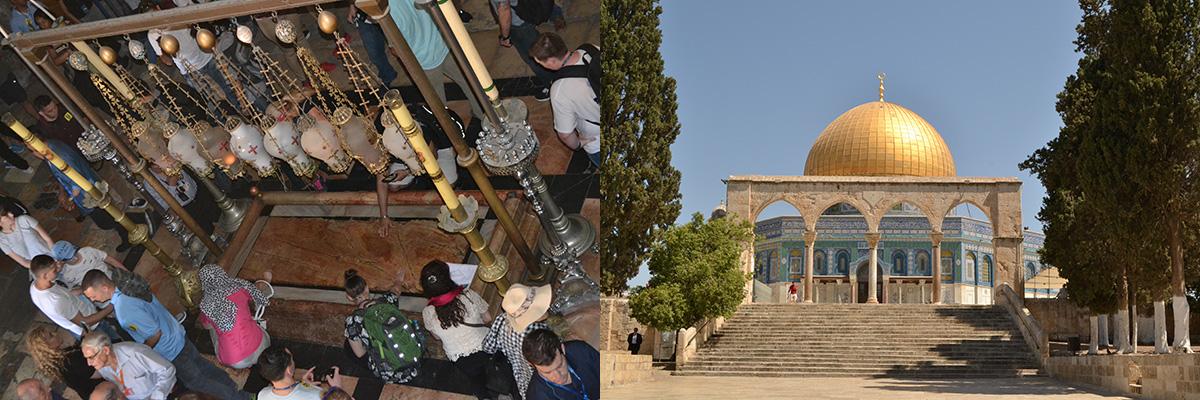 Jérusalem : La pierre de l'Onction et le Dôme du Rocher.