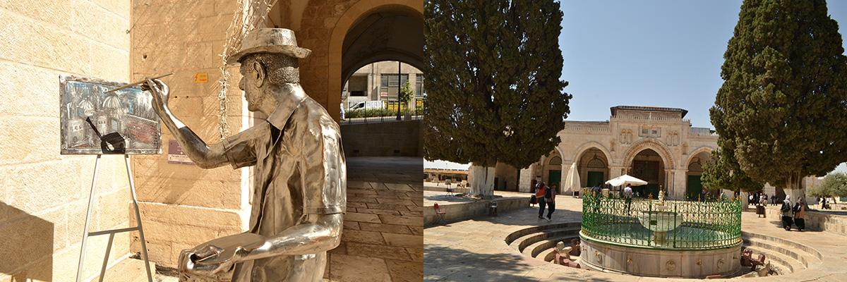 Jérusalem : sculpture pour marquer les esprits et La mosquée Al aksaa.
