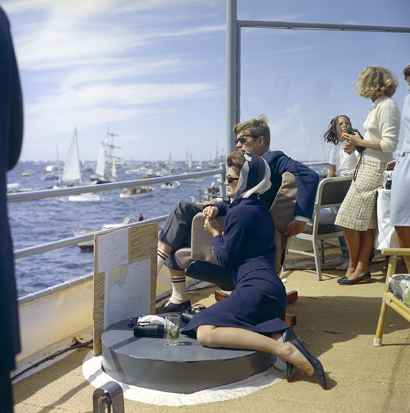 "President John F. Kennedy and First LadyJacqueline Kennedy watch the 1st America's Cup activities aboard U.S.S. Joseph P. Kennedy, Jr. off Newport, RI. Also pictured is Countess Crespi. Please credit ""Robert Knudsen, White House/John F. Kennedy Presidential Library and Museum, Boston"""