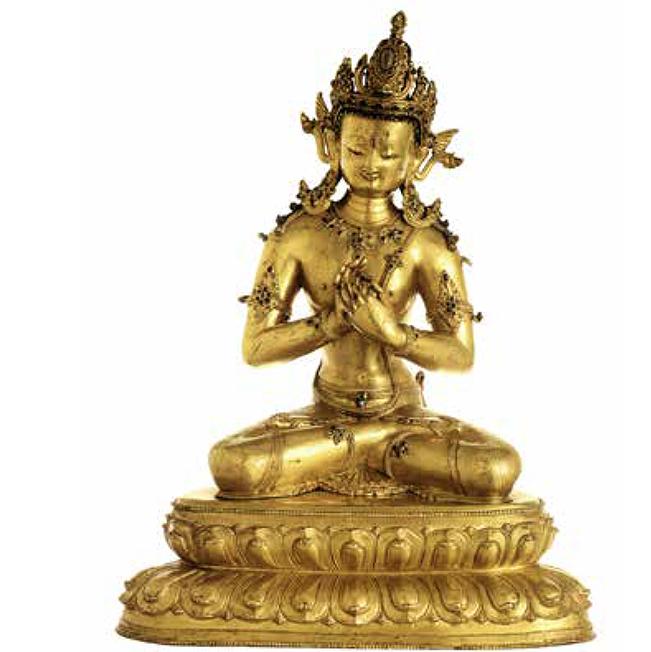 Statue tibétaine en cuivre doré de Vairocana, 14e siècle Présenté par Carlo Cristi