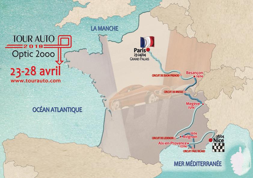 L'itinéraire du Tour Automobile Optic 2000. ©TAO2018.