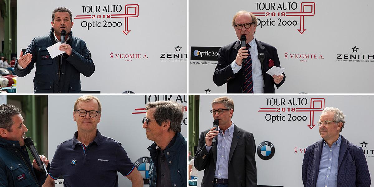 Organisateurs, partenaires, coureurs, tous unis pour la réussite de cette épreuve 2018. Vincent Salimon, Président du directoire de BMW Group France, Patrick Peter, organisateur de l'événement, les deux champions de rallye Ari Vatanen et François Chatriot, Didier Papaz et Yves Guénin, respectivement P.-D.G. et Secrétaire général d'Optic 2ooo ©Caroline Paux
