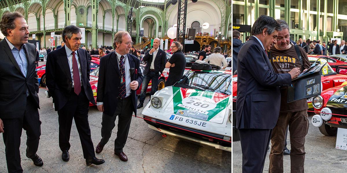 François Fillon et Luc Chatel sont venus échanger sur leur passion commune avec Patrick Peter, organisateur du Tour Auto. ©Caroline Paux
