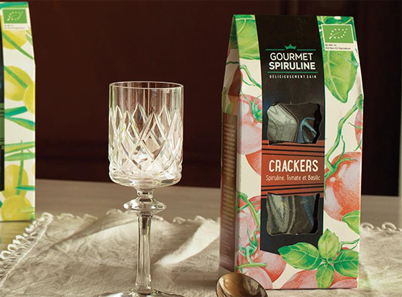 Crackers Bio à la spiruline aux tomates et basilic