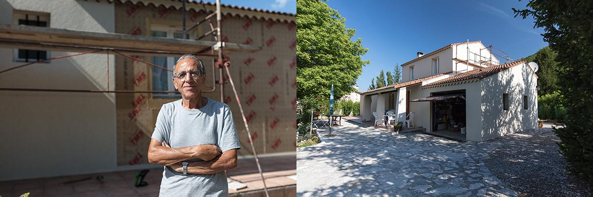 Raymond Gros, retraité bricoleur, qui vit à Valbelle dans les Alpes-de-Haute-Provence, isole sa maison avec Uniso.