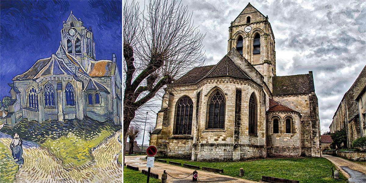 L'église d'Auvers-sur-Oise n'a pas beaucoup changé depuis le tableau de Vincent Van Gogh et cette prise de vue.