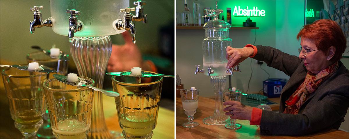 Au musée de l'absinthe, Marie-Claude Delahaye peut vous faire découvrir le rituel de l'absinthe.