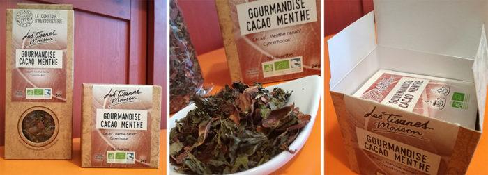Le mélange Cacao Menthe signé Les Tisanes Maison du Comptoir d'Herboristerie est une infusion gourmande à vocation digestive et stimulante.