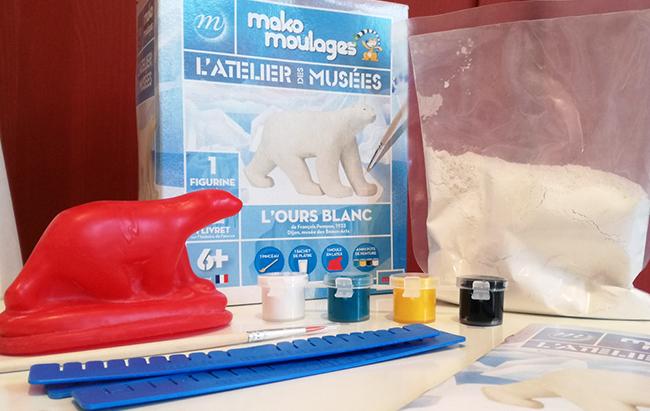 « L'Atelier des Musées » signé Mako Moulages propose deux coffrets pour les enfants : l'Ours blanc de Pompon ou l'Hippopotame bleu du Nil.