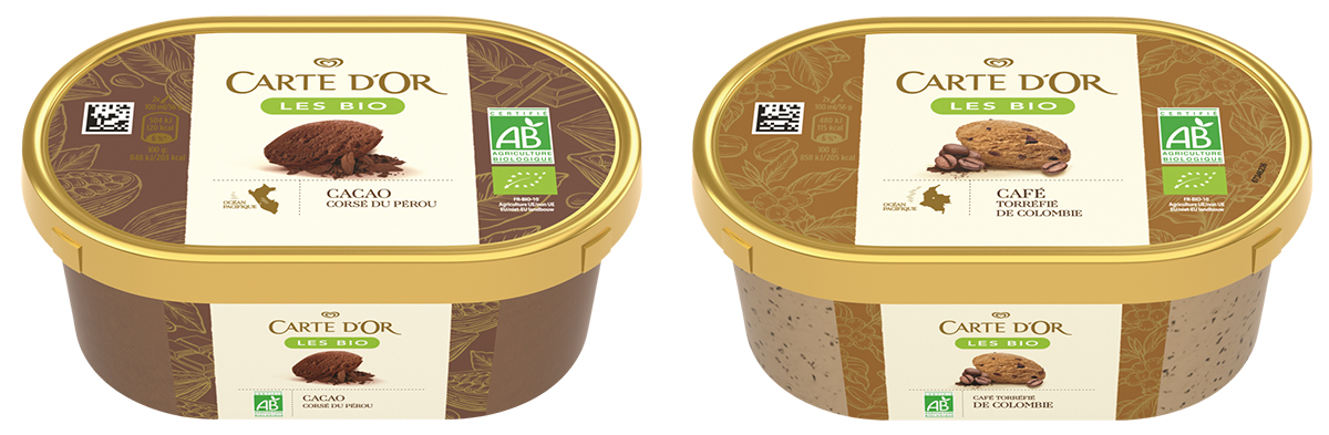 Glaces Bio Carte d'Or au chocolat et au café.