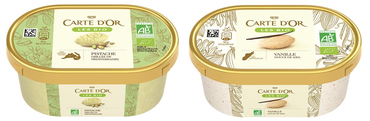 Glaces Bio Carte d'Or à la vanille et à la pistache.