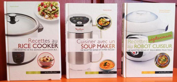 La collection Ustensilissimo des Editions Larousse s'enrichit cette année de quatre nouveaux ouvrages : Cuisiner avec un soup maker, Recettes au rice cooker, Recettes végétariennes au robot cuiseur et Recettes au cuit-vapeur.