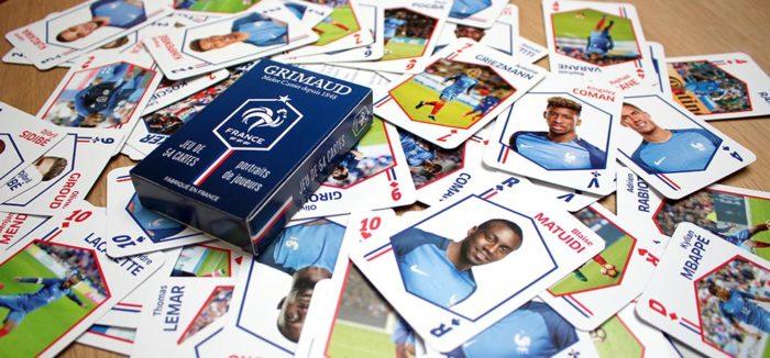 À l'occasion de la Coupe du Monde 2018, Grimaud s'associe à la Fédération Française de Football pour soutenir l'Équipe de France avec deux jeux de 54 cartes spécialement conçus pour l'événement !