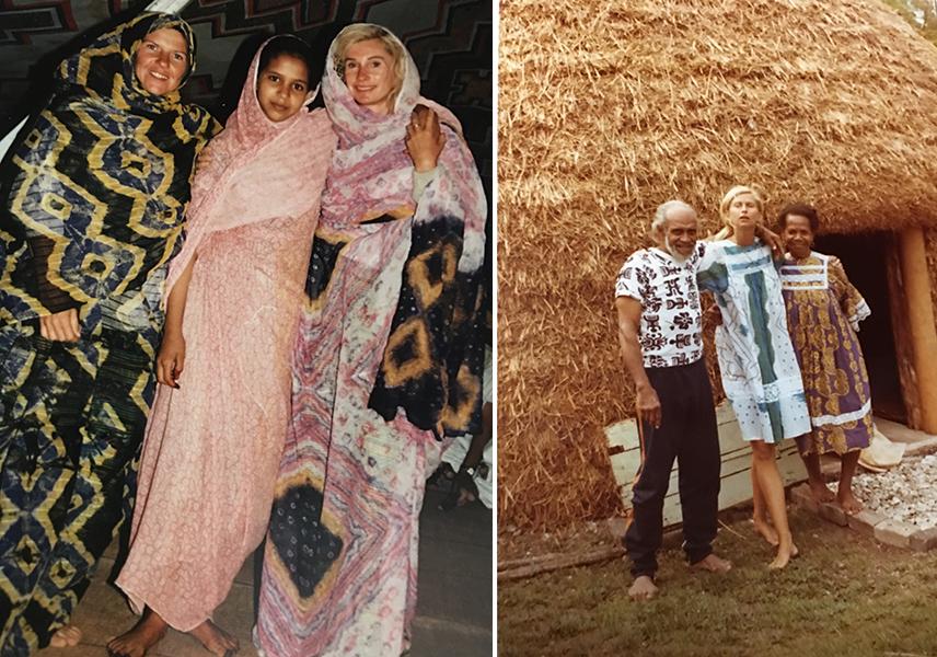 En Mauritanie on voile Marie pour qu'elle ne montre ses jambes. Elle est avec la femme de son hôte et sa fille.