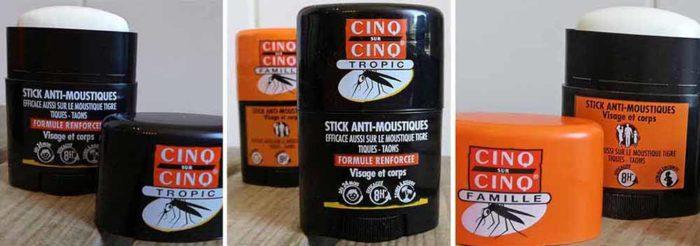 Pour repousser les moustiques, Cinq sur Cinq innove et propose deux anti-moustiques en format de poche à emporter partout : le Stick Famille et le Stick Tropic.