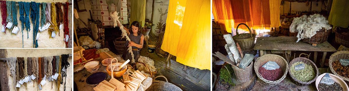 La teinturière se charge de donner des couleurs de la laine à partir de végétaux. © Caroline Paux