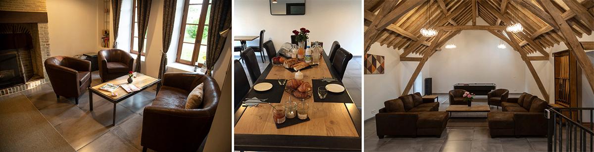 Le site dispose d'un grand bâtiment pour les petits-déjeuners avec deux espaces repos dont un au premier étage avec billard et baby-foot!© Caroline Pau