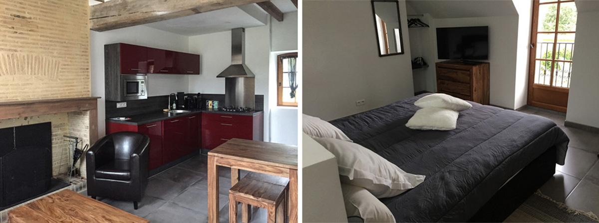 Indépendant, cet appartement de 50m2 sur deux niveaux peut accueillir deux personnes. Avec sa cheminée, sa baignoire balnéo et sa décoration soignée, il invite à un séjour cocooning ! ©Caroline Paux