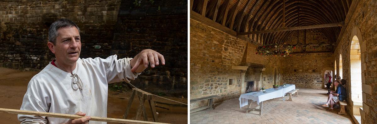 Florien Renucci, maître d'œuvre du chantier et l''intérieur du logis principal et sa magnifique charpente. ©Caroline Paux