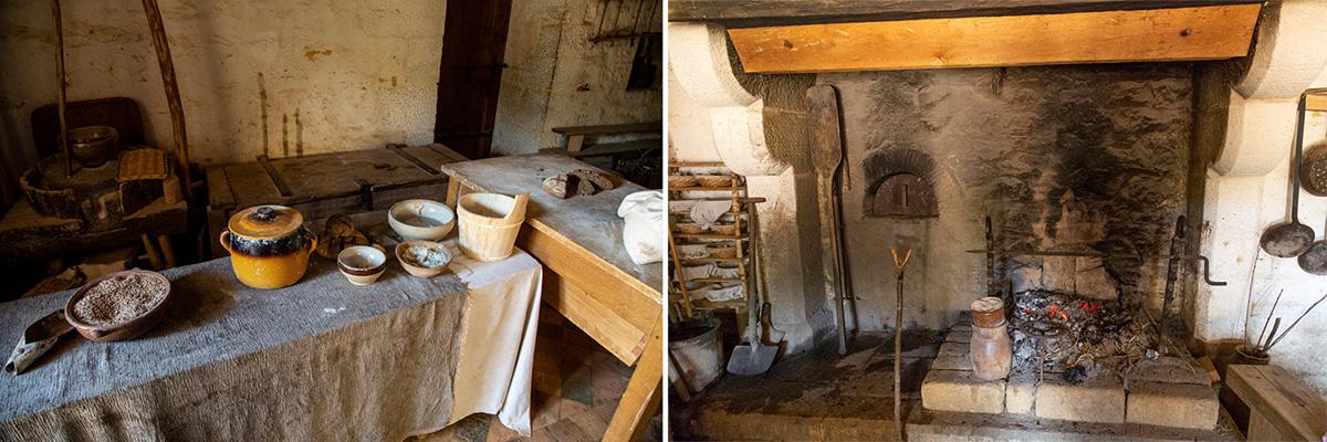 Ici, dans la cuisine, le boulanger réalise le pain, dans le four, avec la farine créer dans le moulin.© Caroline Paux