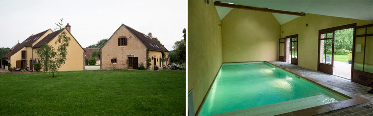 Le Hameau de la Fausse sauge comprend plusieurs bâtiments, dont celui de la piscine, sur un très grand espace. On est à la campagne et au calme! © Caroline Paux