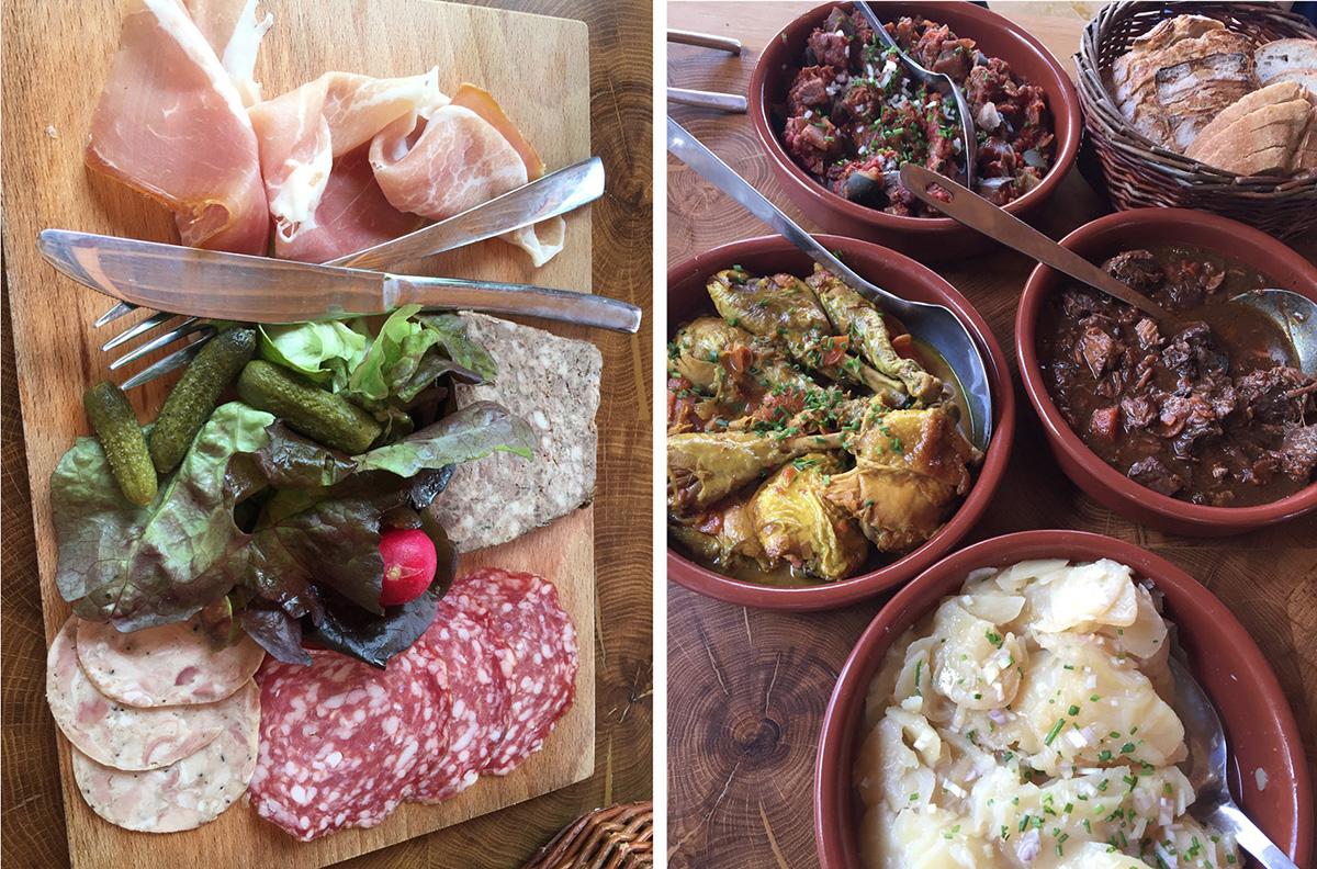 Entrée et plats du restaurant «le Pain sur la planche»…Bons, simples et sains…© Caroline Paux