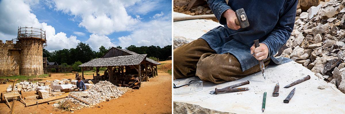 Les tailleurs de pierre sont à deux pas du château. Ils travaillent le grès extrait de la carrière (pierre de couleur brun foncé) ou le calcaire (pierre blanche) qui provient d'une carrière voisine. Leurs principaux outils sont le ciseau, la broche ou la chasse et la machette. © Caroline Paux