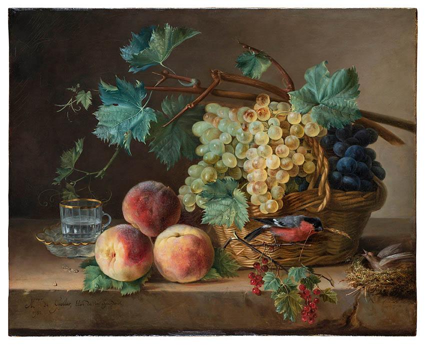 Marquise de Grollier raisins, pêches tasses
