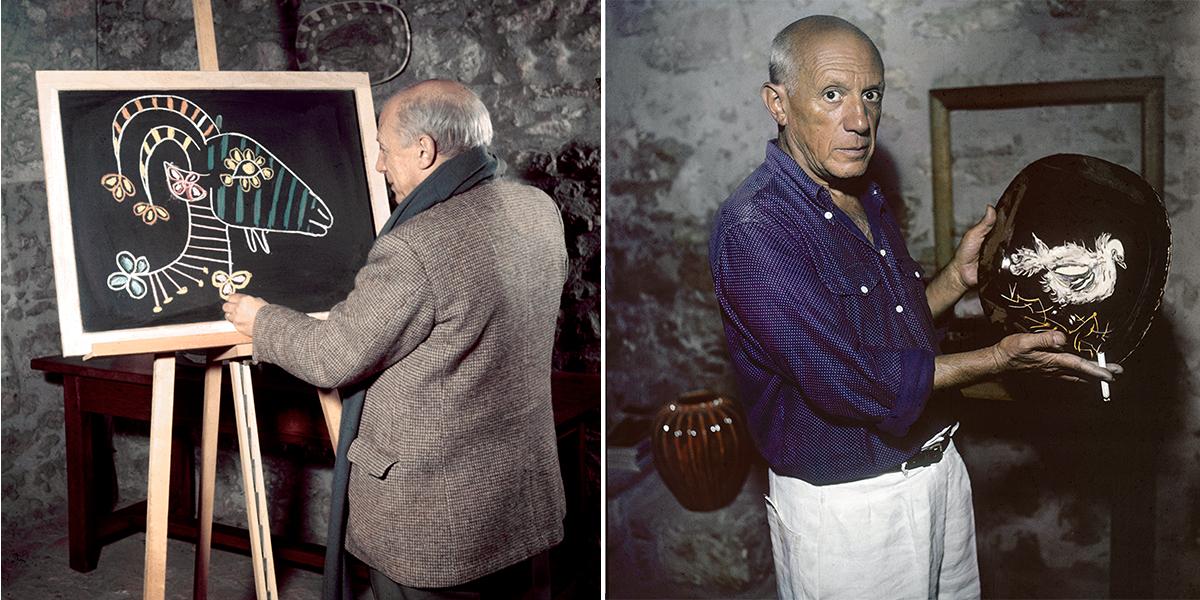 Picasso dessine sur une ardoise.