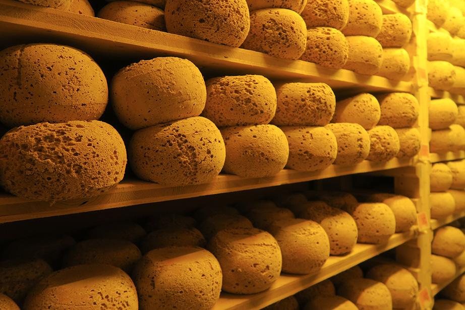 Les fromages s'affinent lentement dans les caves de Romain Olivier
